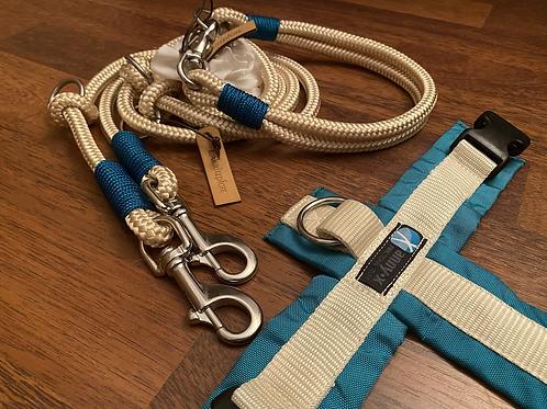 Halsband + Leine Set in creme-petrol