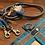 Thumbnail: Halsband + Leine Set in grau-petrol