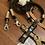 Thumbnail: Halsband + Leine Set in schwarz-sand