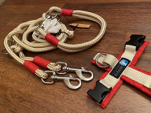Halsband + Leine Set in creme-rot