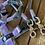 Thumbnail: Tau-Leder Halsband + Leine Set in grau-flieder