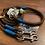 Thumbnail: Halsband + Leine Set in braun-petrol