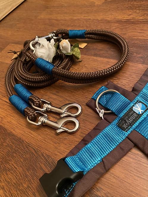 Halsband + Leine Set in braun-petrol