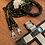Thumbnail: Halsband + Leine Set in silbergrau-schwarz
