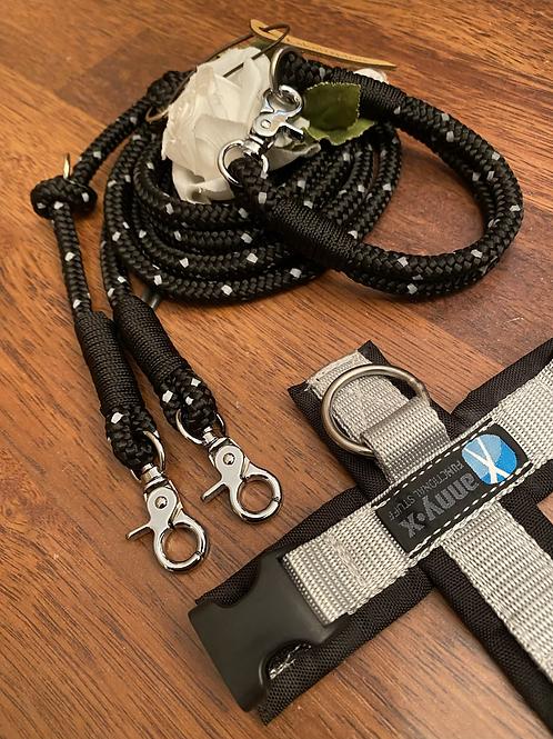 Halsband + Leine Set in silbergrau-schwarz
