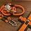 Thumbnail: Halsband + Leine Set in orange-oliv