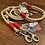Thumbnail: Halsband + Leine Set in creme-rot