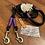 Thumbnail: Halsband + Leine Set in schwarz-lila
