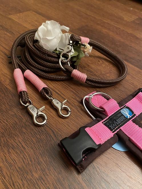 Halsband + Leine Set in braun-rosa