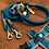 Thumbnail: Halsband + Leine Set in petrol-grau