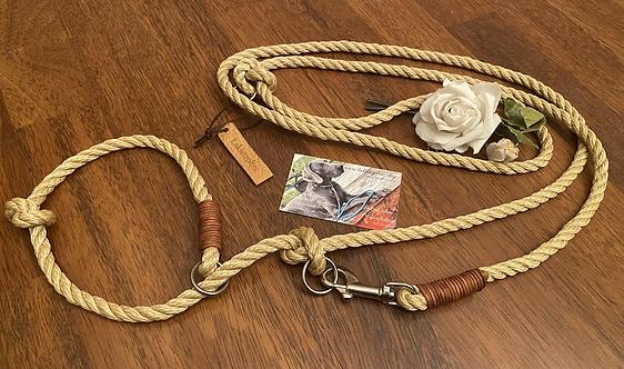 2-fach verstellbare Retrieverleine mit Ledertakling, Tauwerk gedreht