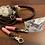 Thumbnail: Halsband + Leine Set in braun-rosa
