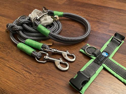 Halsband + Leine Set in grau-neongrün