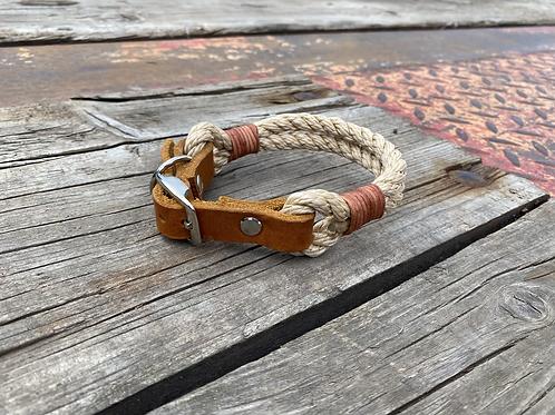 Verstellbare Halsung  mit Ledertakling, Tauwerk gedreht doppelt