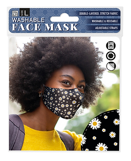Washable Face Mask: Daisy on Black