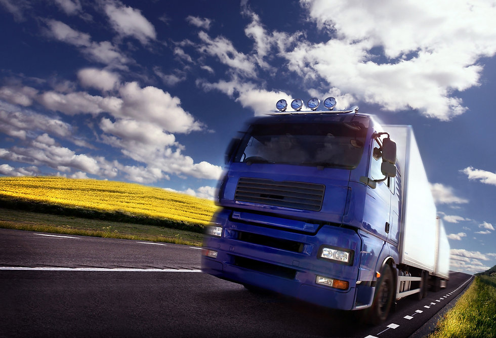 lorry driving in the countryside