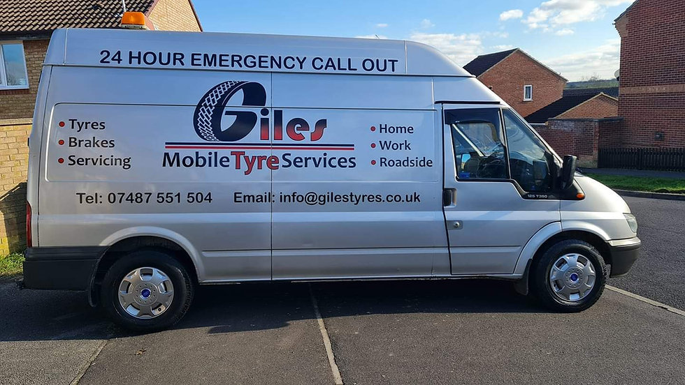 Giles mobile tyre services van in a driveway