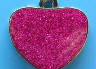 Glitter Heart Dog Tag