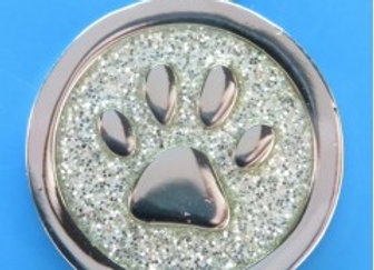 Round Glitter Paw Dog/Cat Tag - 20 mm