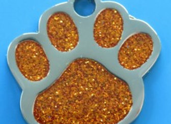 Nickel Dog Tag - Glitter Paw Design