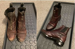 before and after of red leather horse ri