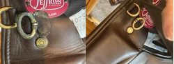 before and after of brown leather horse