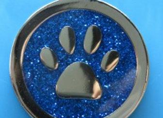 Round Glitter Paw Dog Tag - 28mm