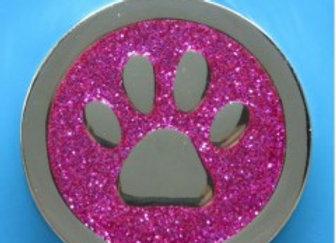 Round Glitter Paw Dog Tag - 35mm