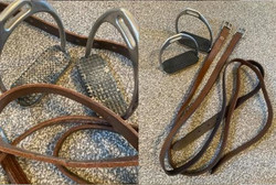 before and after of brown leather stirru