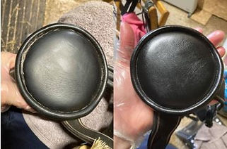 before and after of black leather horse