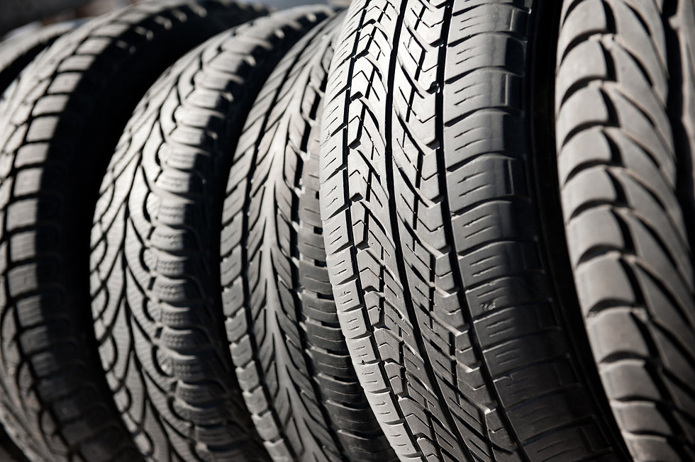 car tyres in a row next to each other