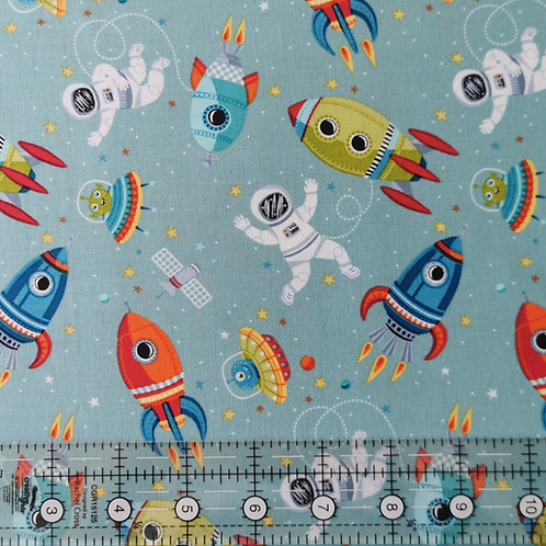 Makower Outer Space, Space Scene Teal