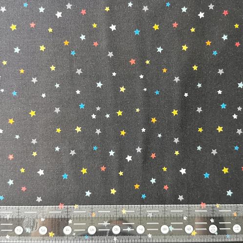 Makower Outer Space Multi Stars Black