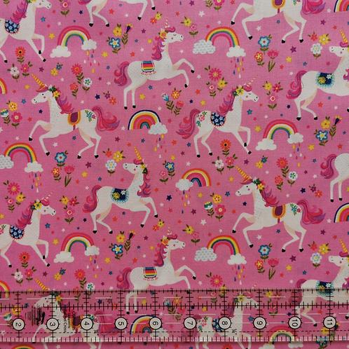 Makower Day Dream Unicorns Pink