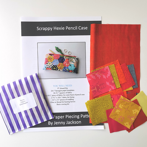 Scrappy Hexie Pencil Case Alison Glass Sunburst Colourway Kit