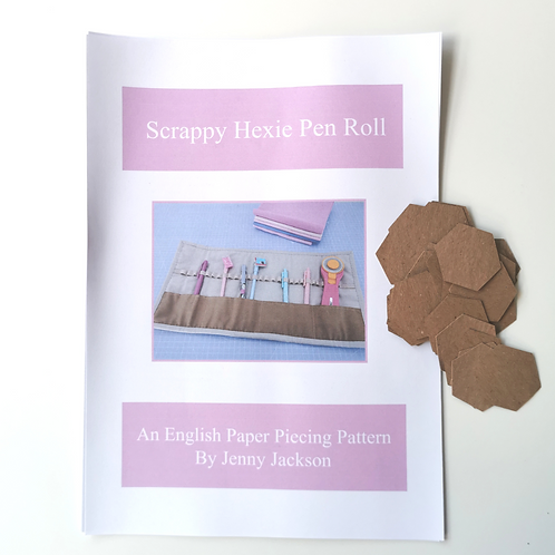 Scrappy Hexie Pen Roll Paper Pattern and Paper Pieces