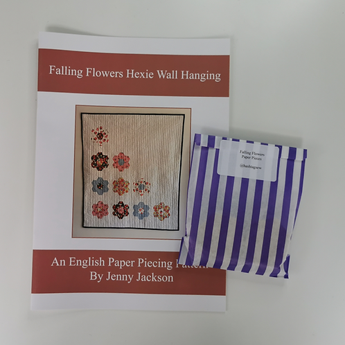Falling Flowers Hexie Wall Hanging Paper Pattern and Paper Pieces