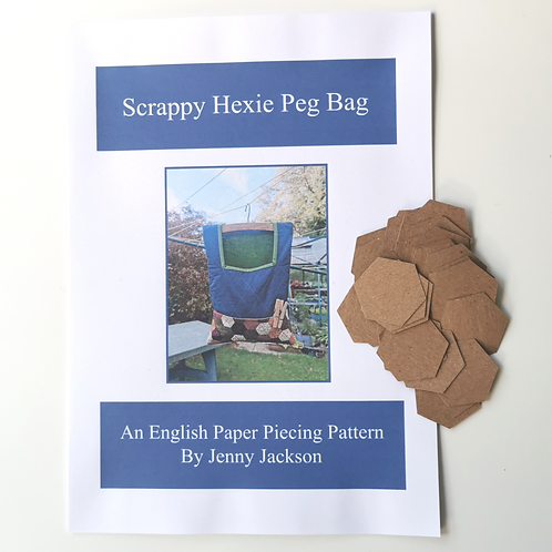 Scrappy Hexie Peg Bag Paper Pattern and Paper Pieces