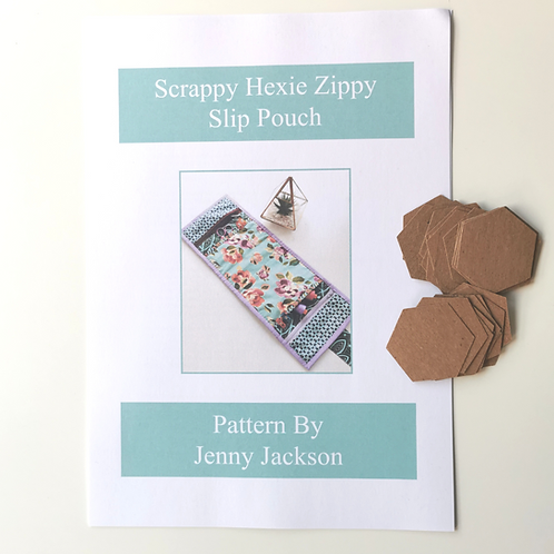 Scrappy Hexie Zippy Slip Pouch Paper Pattern and Paper Pieces