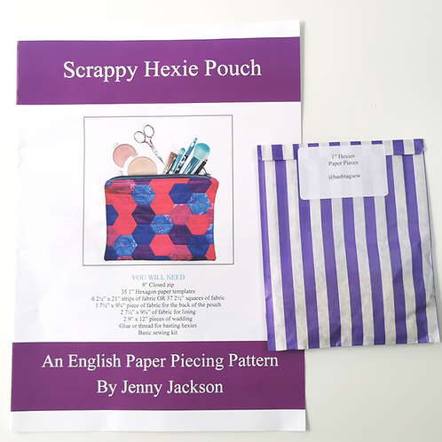 Scrappy Hexie Pouch and Paper Pieces