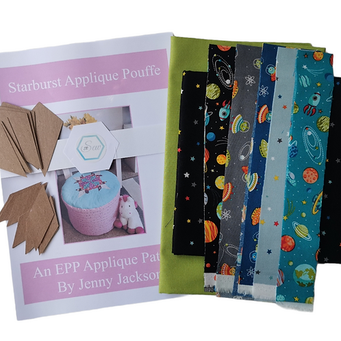 The Starburst Applique Pouffe Kit - Outer Space