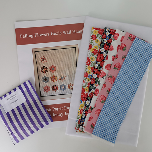 Falling Flowers Hexie Wall Hanging Kit Strawberry Jam Colourway