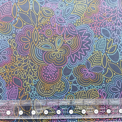 Alison Glass Art Theory Rainbow Stitched Black