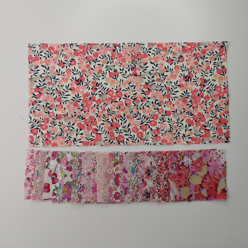 Scrappy Hexie Pencil Case Liberty tana Lawn Pinks FABRIC ONLY