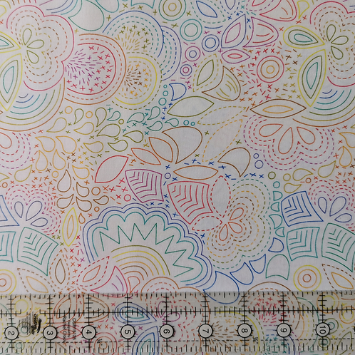 Alison Glass Art Theory Rainbow Stitched White