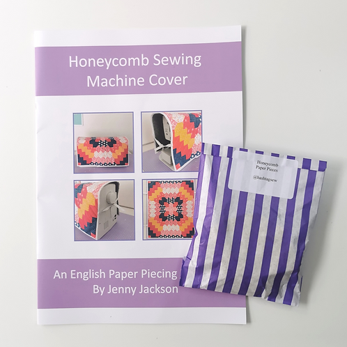 Honeycomb Sewing Machine Cover and Paper Pieces