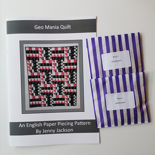 Geo Mania English Paper Piecing PAPER pattern and 1 pack of block 1 & 2 paper pi
