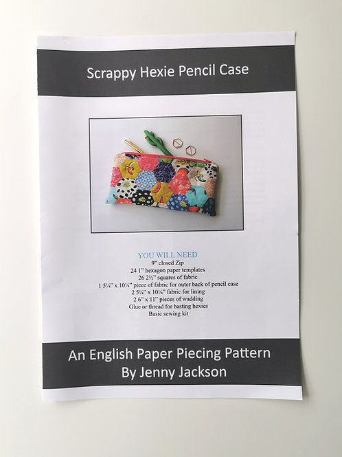 Scrappy Hexie Pencil Case Paper Pattern ONLY