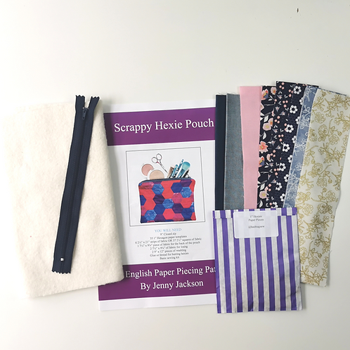 Scrappy Hexie Pouch Kit - Midnight Rose