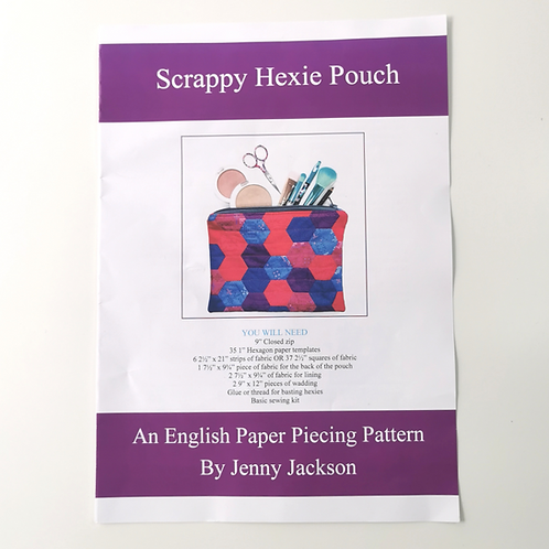 Scrappy Hexie Pouch Pattern PDF DOWNLOAD ONLY
